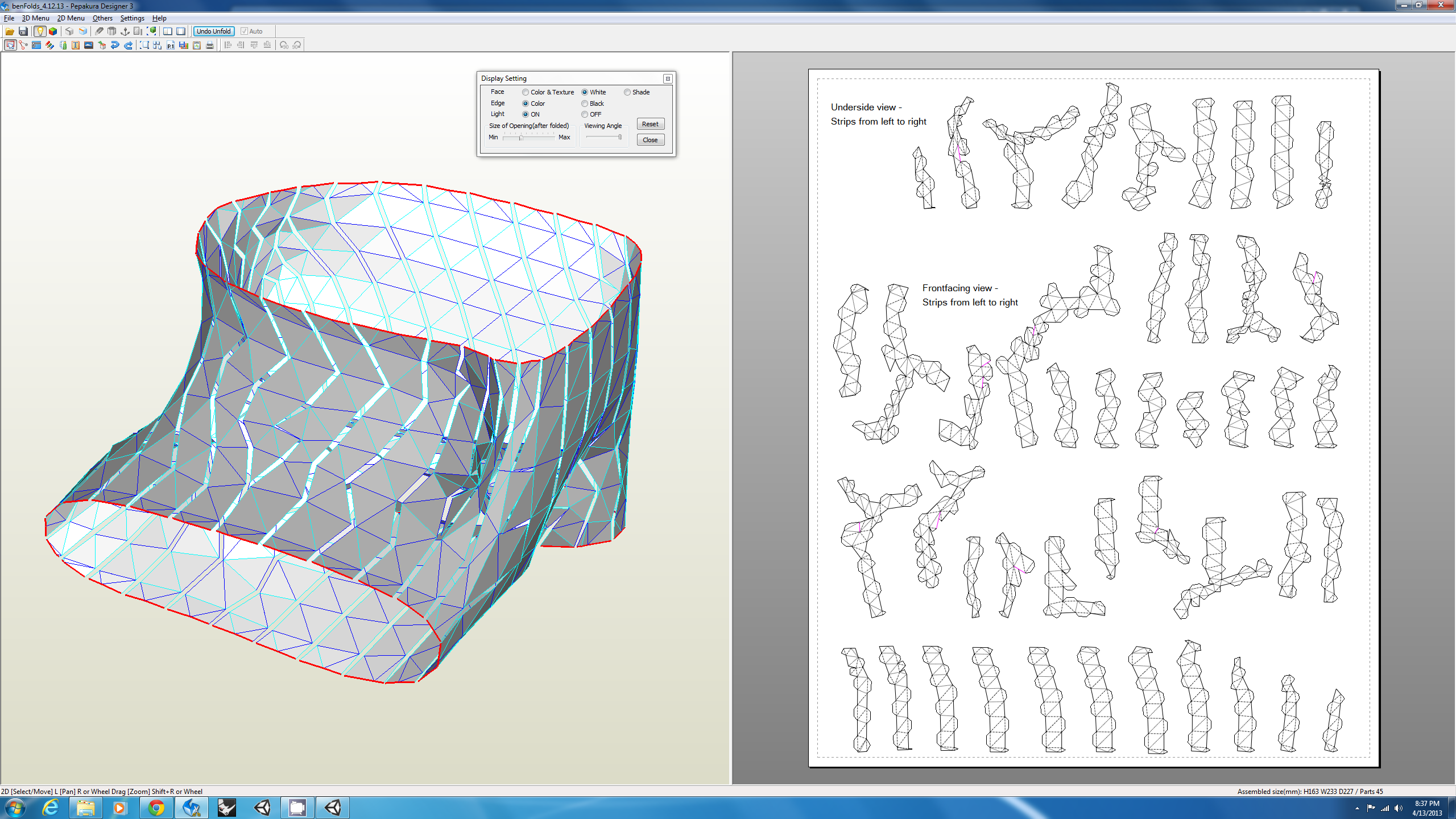 Fabricating a Parametric Model with Pepakura